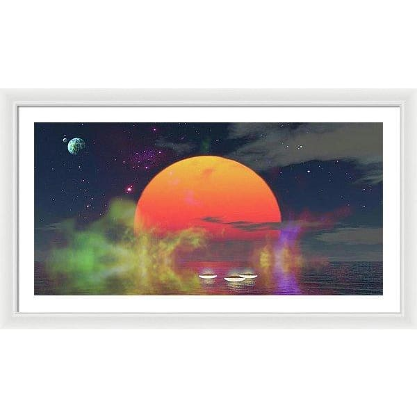 Water Planet - Framed Print - 40.000 x 20.000 / White / White - Framed Print