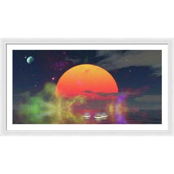 Water Planet - Framed Print - 48.000 x 24.000 / White / White - Framed Print