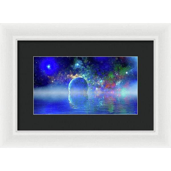 Water Planet One - Framed Print - 12.000 x 6.750 / White / Black - Framed Print