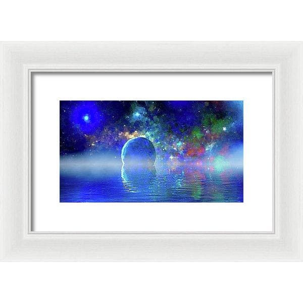 Water Planet One - Framed Print - 12.000 x 6.750 / White / White - Framed Print