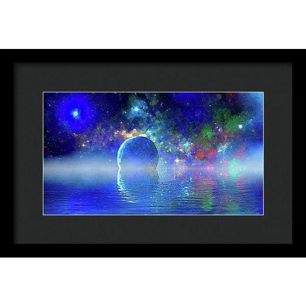 Water Planet One - Framed Print - 14.000 x 7.875 / Black / Black - Framed Print