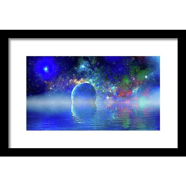 Water Planet One - Framed Print - 14.000 x 7.875 / Black / White - Framed Print