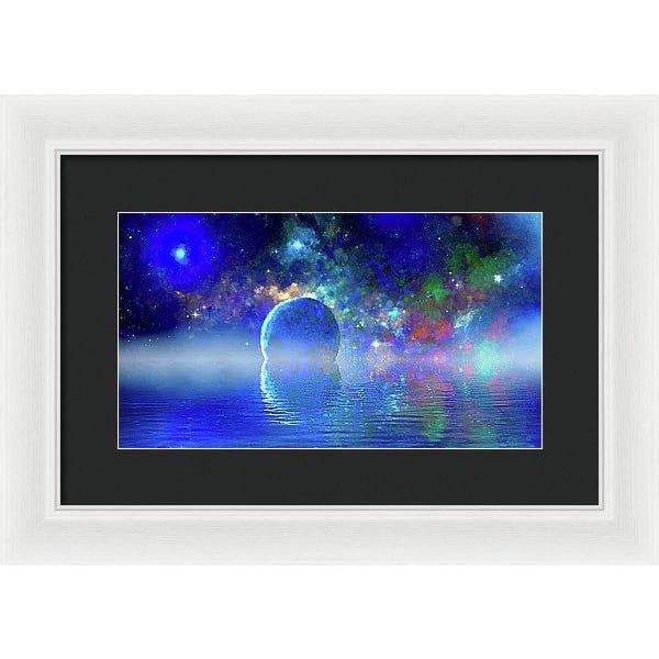 Water Planet One - Framed Print - 14.000 x 7.875 / White / Black - Framed Print