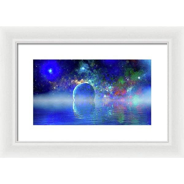 Water Planet One - Framed Print - 14.000 x 7.875 / White / White - Framed Print