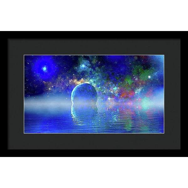 Water Planet One - Framed Print - 16.000 x 9.000 / Black / Black - Framed Print