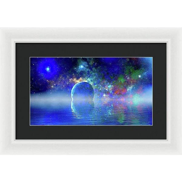 Water Planet One - Framed Print - 16.000 x 9.000 / White / Black - Framed Print