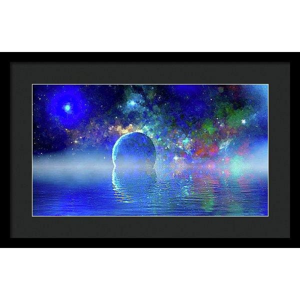 Water Planet One - Framed Print - 20.000 x 11.250 / Black / Black - Framed Print