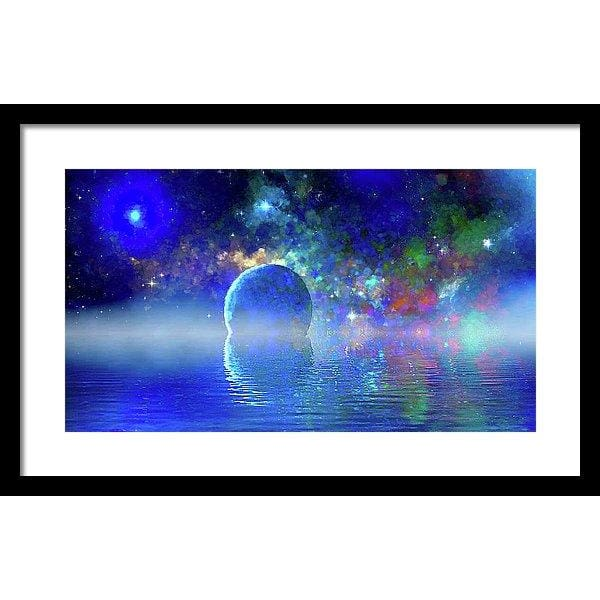 Water Planet One - Framed Print - 20.000 x 11.250 / Black / White - Framed Print