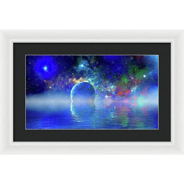 Water Planet One - Framed Print - 20.000 x 11.250 / White / Black - Framed Print