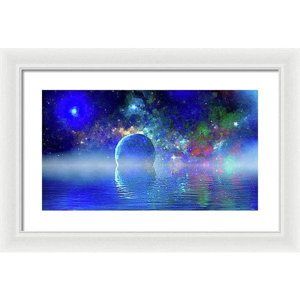 Water Planet One - Framed Print - 20.000 x 11.250 / White / White - Framed Print