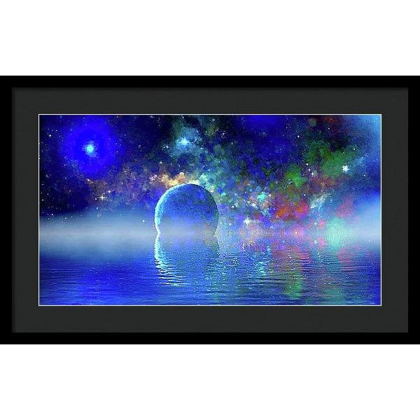 Water Planet One - Framed Print - 24.000 x 13.500 / Black / Black - Framed Print