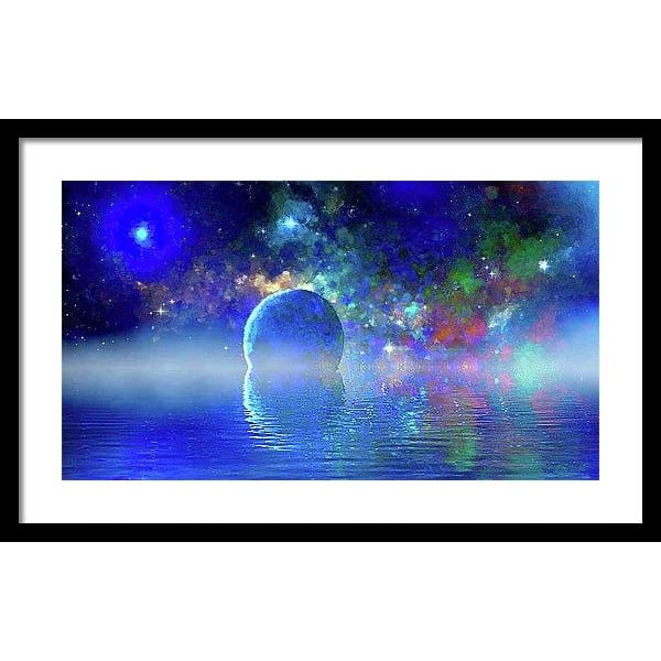 Water Planet One - Framed Print - 24.000 x 13.500 / Black / White - Framed Print
