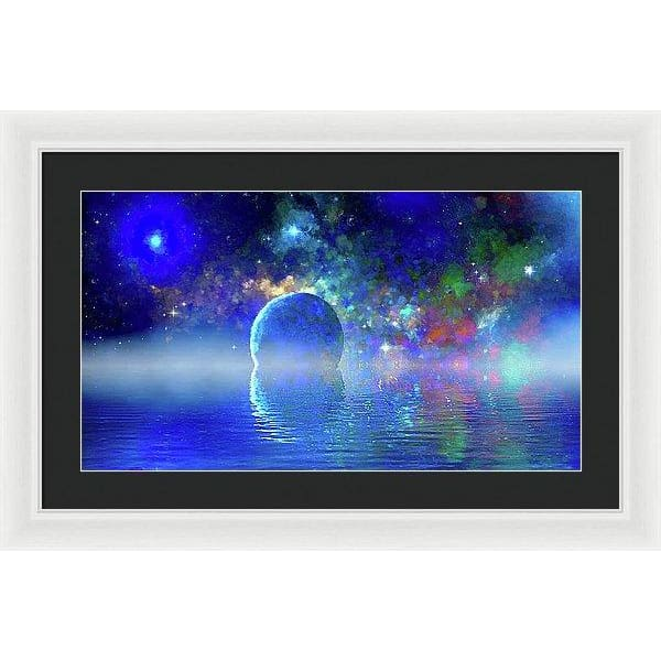 Water Planet One - Framed Print - 24.000 x 13.500 / White / Black - Framed Print