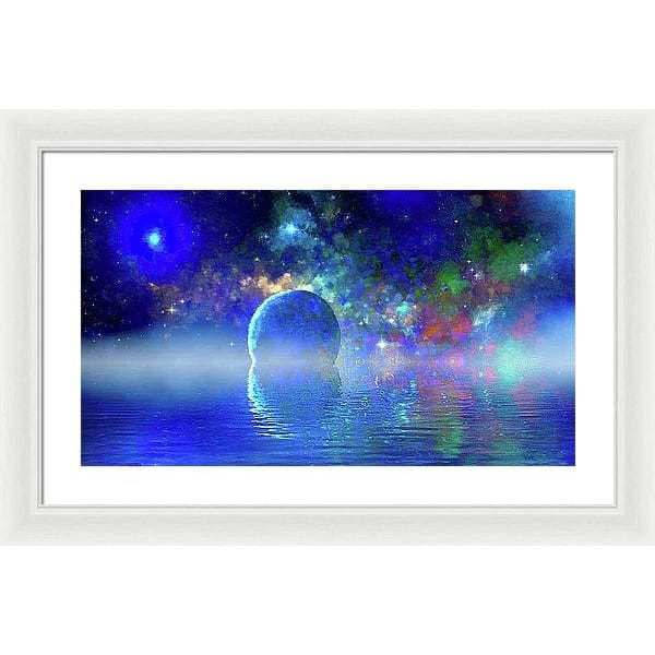 Water Planet One - Framed Print - 24.000 x 13.500 / White / White - Framed Print