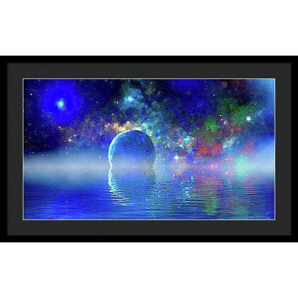 Water Planet One - Framed Print - 30.000 x 16.875 / Black / Black - Framed Print