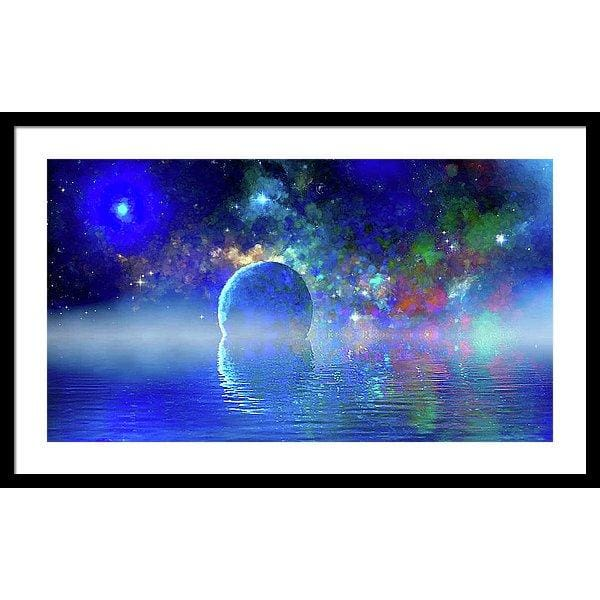 Water Planet One - Framed Print - 30.000 x 16.875 / Black / White - Framed Print