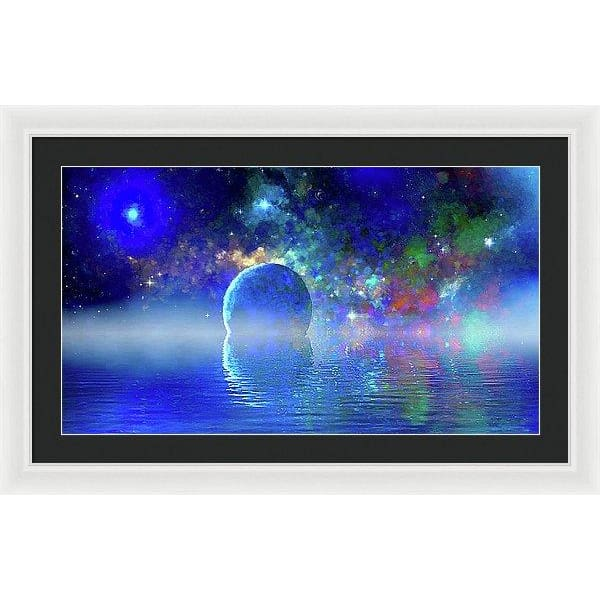 Water Planet One - Framed Print - 30.000 x 16.875 / White / Black - Framed Print