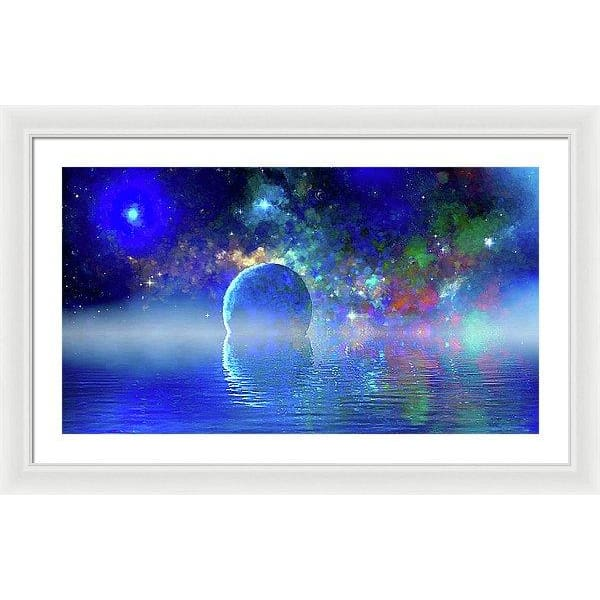 Water Planet One - Framed Print - 30.000 x 16.875 / White / White - Framed Print