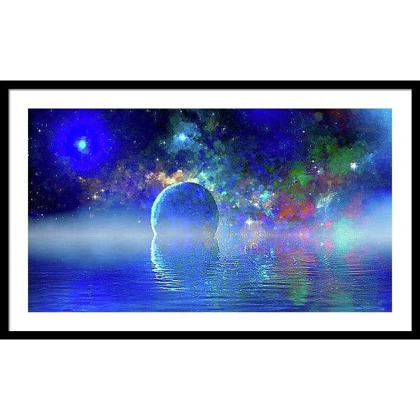 Water Planet One - Framed Print - 36.000 x 20.250 / Black / White - Framed Print