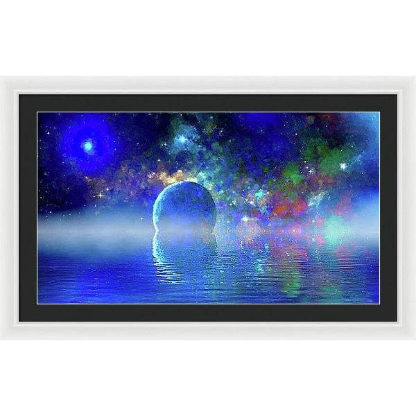 Water Planet One - Framed Print - 36.000 x 20.250 / White / Black - Framed Print
