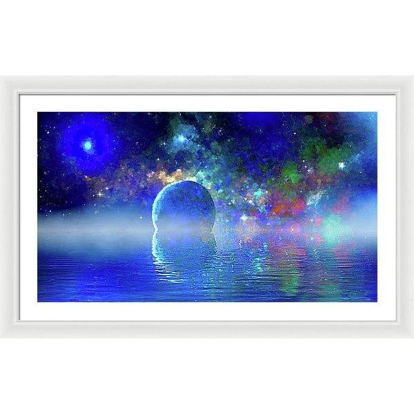 Water Planet One - Framed Print - 36.000 x 20.250 / White / White - Framed Print