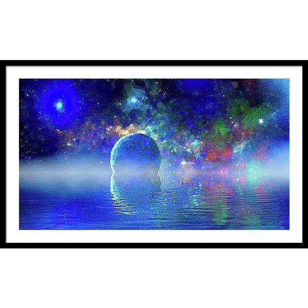 Water Planet One - Framed Print - 40.000 x 22.500 / Black / White - Framed Print