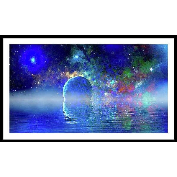 Water Planet One - Framed Print - 48.000 x 27.000 / Black / White - Framed Print