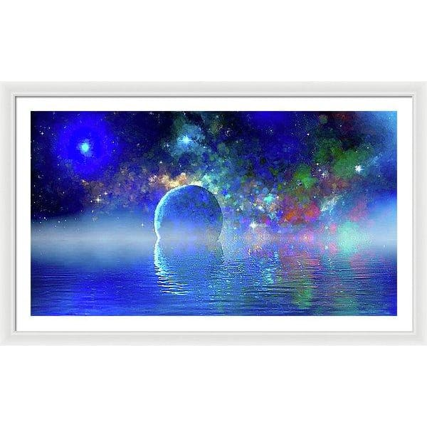 Water Planet One - Framed Print - 48.000 x 27.000 / White / White - Framed Print