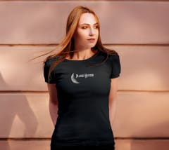 female model standing wearing planet hunter t shirt