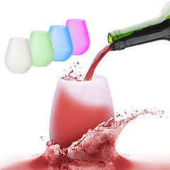 Colorful Silicone Wine Glasses - Set Of 4
