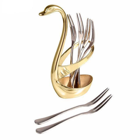 Luxury Swan Forks and Spoon Holder