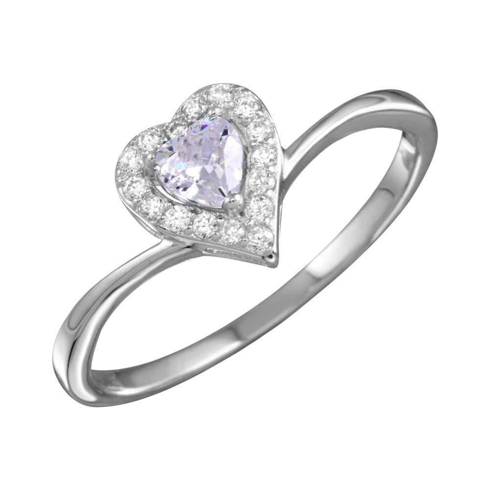 925 Sterling Silver Rhodium Plated Clear Heart Ring with CZ SPRBGR01153CLR