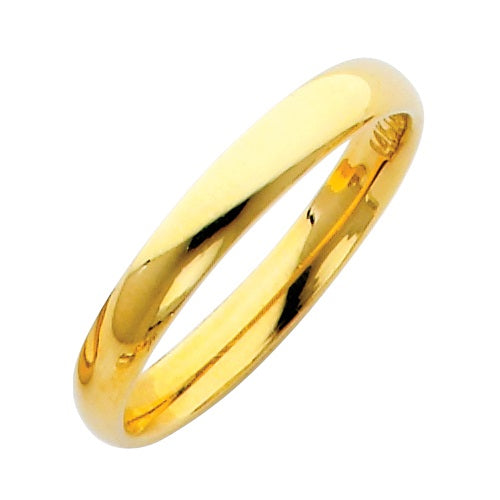 14K Yellow Gold 3mm Plain Comfort Fit Wedding Band LEEBC030