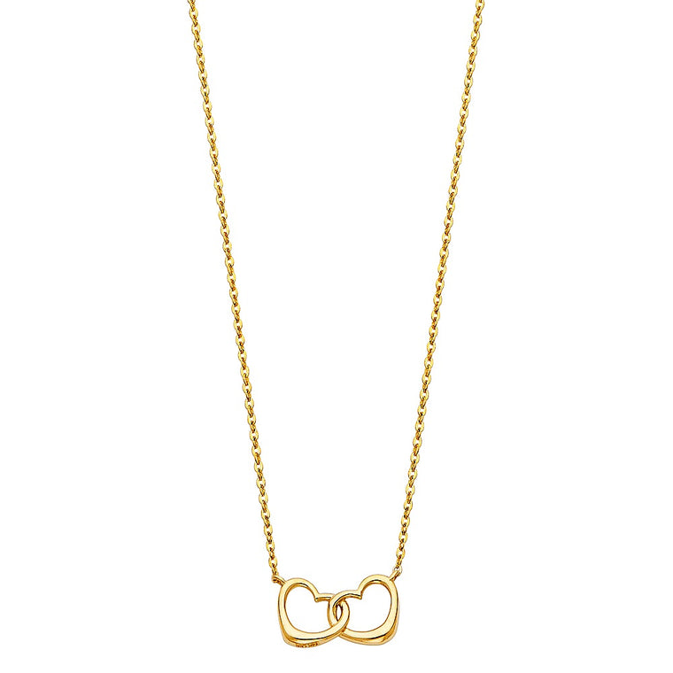 "Aryoli 14K Yellow Gold Interlocking Double Hearts Necklace 1.70 Grams 17+1"" LEENK101"