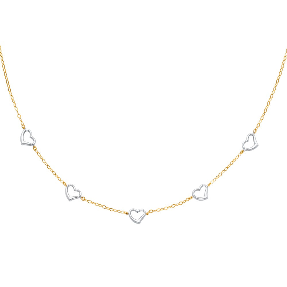 "Aryoli 14K 2 Tone Yellow and White Gold Hollow Necklace 17"" LEENK23"