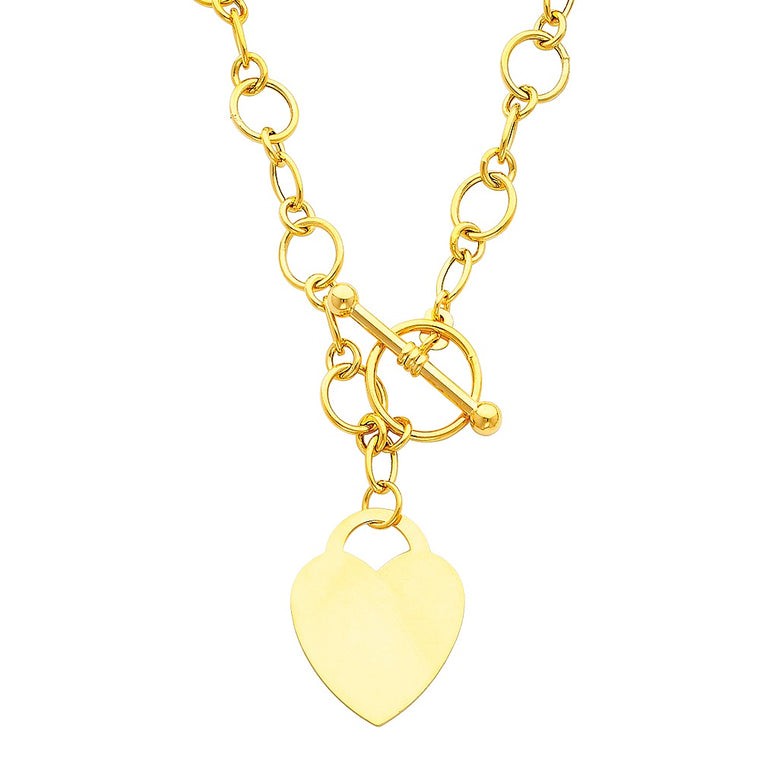 "Aryoli 14K Yellow Gold Hollow Links With Heart Necklace 10.50 Grams 18"" LEENK28"