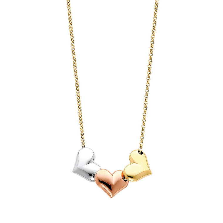 "Aryoli 14K Yellow Gold with 3 tone Gold Hearts Necklace 3.90 Grams 17"" LEENK69"