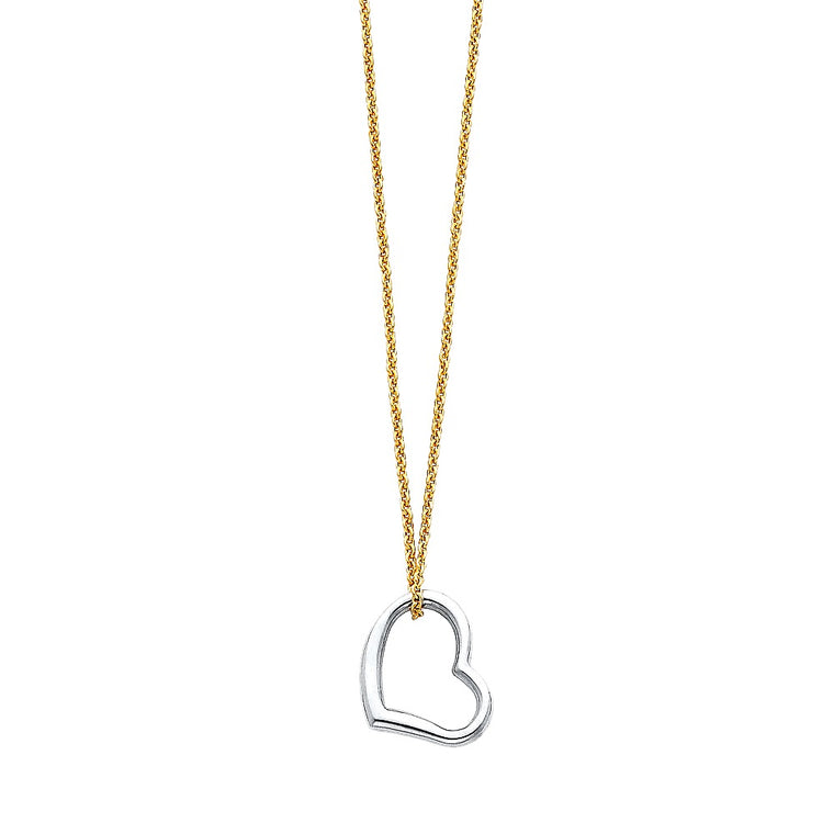 "Aryoli 14K Yellow Gold Necklace with White Gold Heart Charm 1.80 Grams 17"" LEENK70"