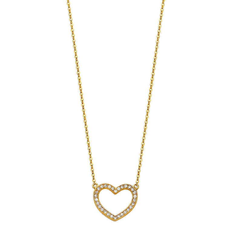 Aryoli 14K Yellow Gold Chain with Pave CZ Open Heart Necklace 1.80 Grams 17+1""