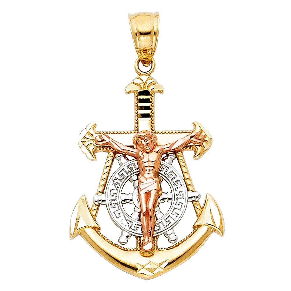 Aryoli 14K Tri-Color Gold Jesus Crucifix Anchor Religious Pendant 2.0 Grams 28mm LEEPT112