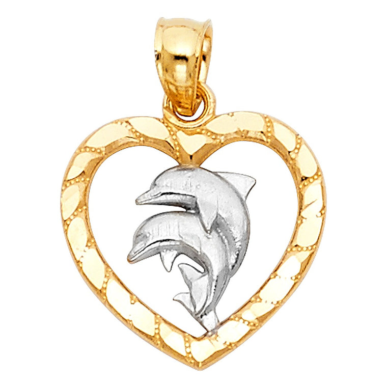 14K Yellow and White Gold Heart with Dolphin Pendant 0.90 Grams 15mm LEEPT1678