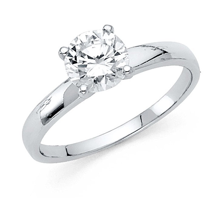 14K White Gold 1CT CZ Engagement Ring LEERG1W