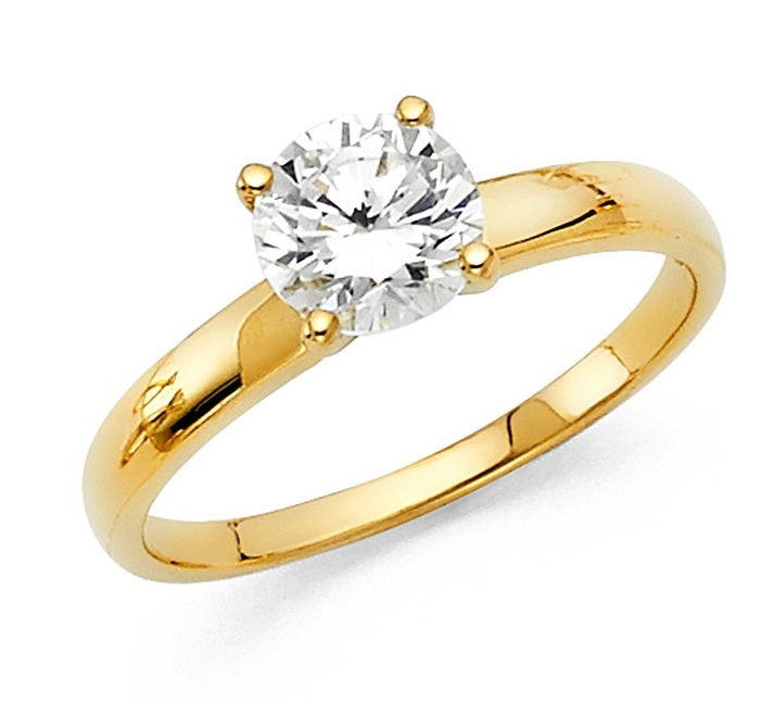 14K Yellow Gold 1CT CZ Engagement Ring LEERG1