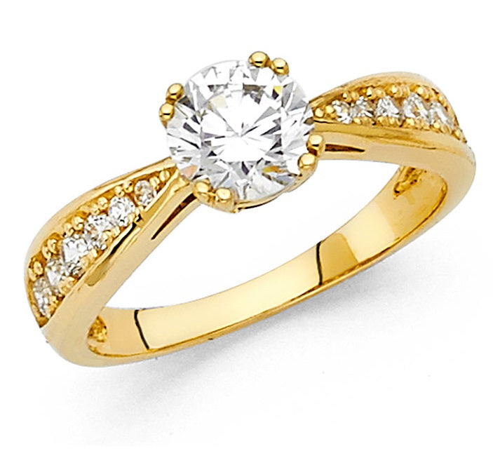 14K Yellow Gold 1CT CZ Engagement Ring LEERG20