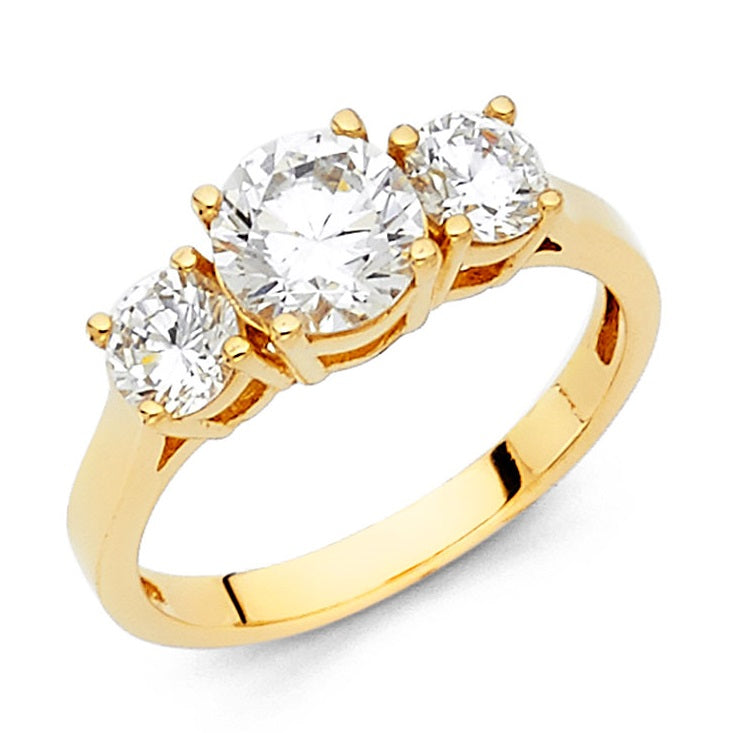 14K Yellow Gold 1CT Center CZ Engagement Ring LEERG34