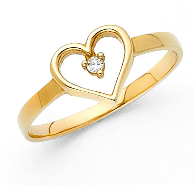 14K Yellow Gold Heart CZ Ring LEERG633