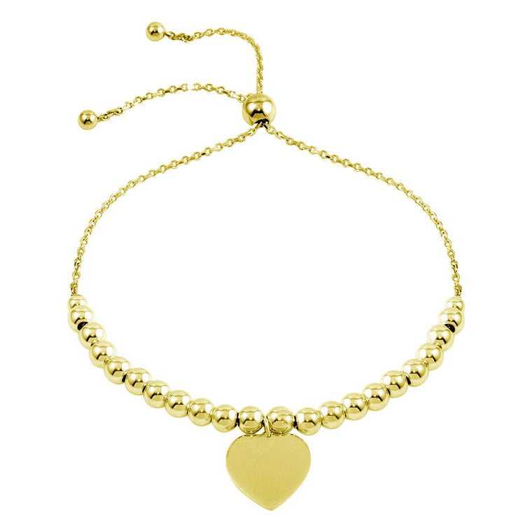 Aryoli 925 Sterling Silver Gold Plated Beaded Engravable Heart Lariat Bracelet SPBDIB00064GP