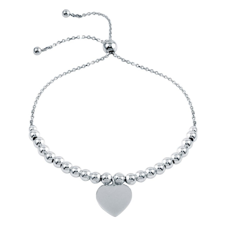 Aryoli 925 Sterling Silver  Rhodium Plated Beaded Engravable Heart Lariat Bracelet SPBDIB00064RH