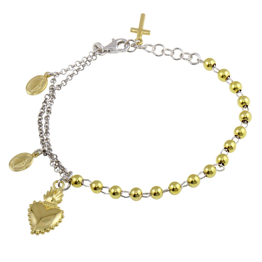 Aryoli 925 Sterling Silver Gold Plated 2 Toned Heart Center Dangling Charm Bead Bracelet SPBARB00054RH/GP
