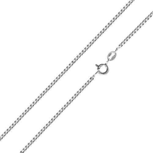 "Aryoli 925 Sterling Silver Chain 1.0mm Box Italian Necklace for Women Rhodium Plated 16""-24"" SPCH204"